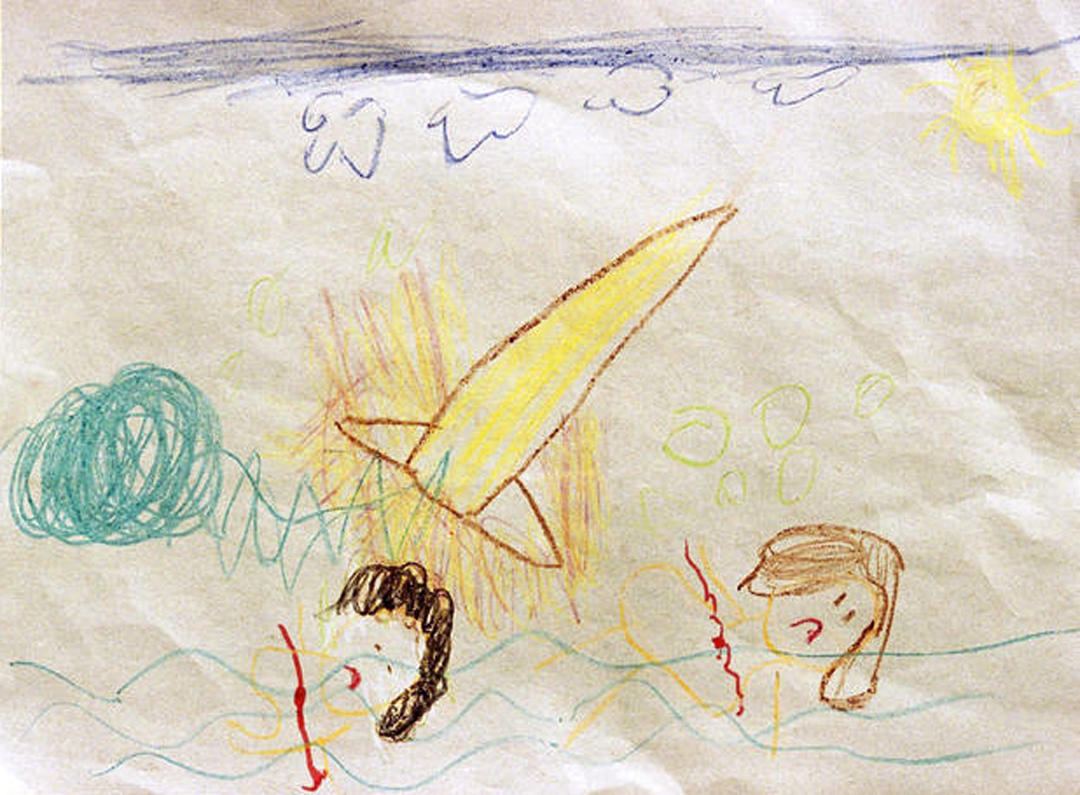A drawing made by a first-grade student is shown on January 31, 1986. The student's class at the Our Lady of Lourdes School in Melbourne, Florida, was asked to draw what they thought happened to the space shuttle Challenger and the people aboard. Thom Baur/AP